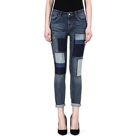 KAREN MILLEN Patchwork skinny jeans (Denim
