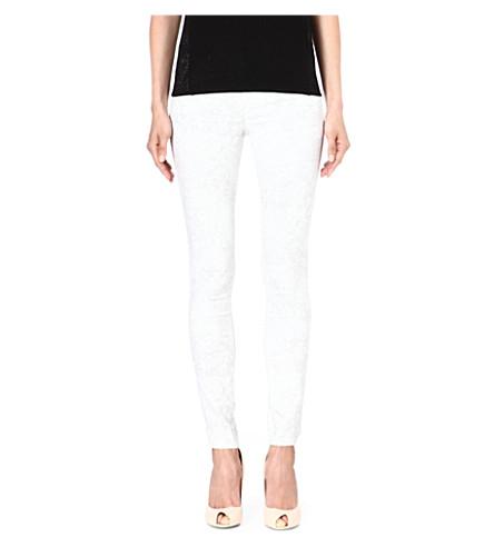 KAREN MILLEN Lace print skinny jeans (White