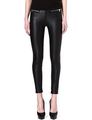 KAREN MILLEN Silver-zipped faux-leather trousers