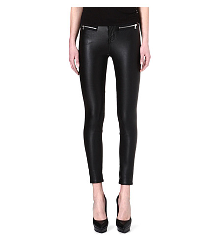 KAREN MILLEN Silver-zipped faux-leather trousers (Black