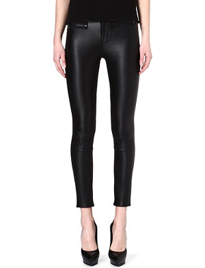 KAREN MILLEN Matte-zipped faux-leather trousers