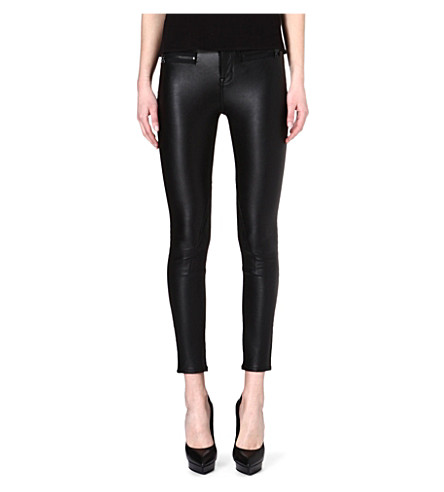 KAREN MILLEN Matte-zipped faux-leather trousers (Black