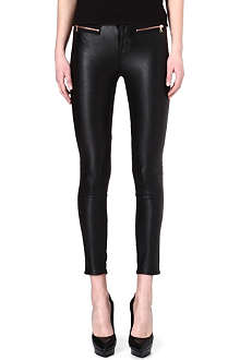 KAREN MILLEN Rose gold-zipped faux-leather trousers