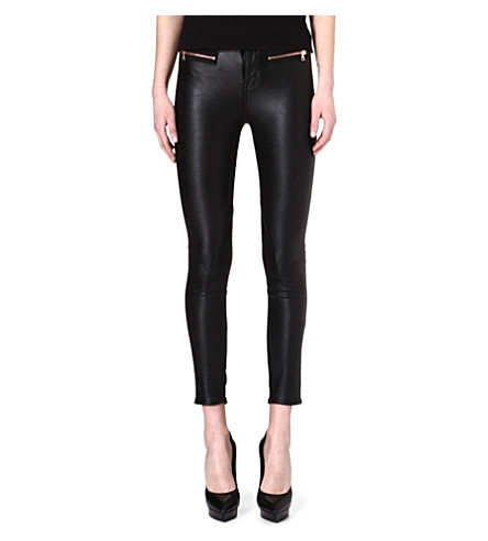 KAREN MILLEN Rose gold-zipped faux-leather trousers (Black
