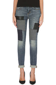 KAREN MILLEN Patchwork slim-fit cropped jeans