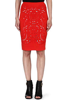 KAREN MILLEN Embroidered cut-out pencil skirt
