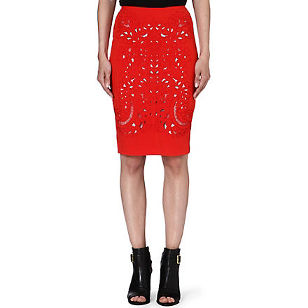 KAREN MILLEN Embroidered cut-out pencil skirt (Orange