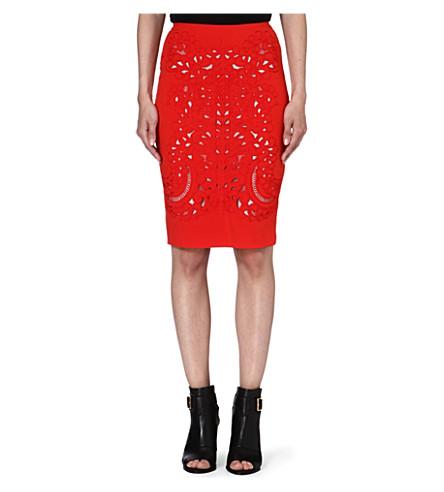 KAREN MILLEN Embroidered cut-out pencil skirt (Orange