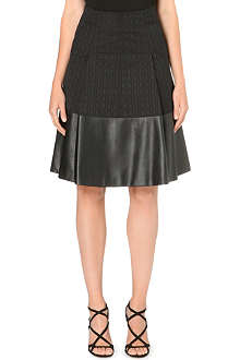 KAREN MILLEN Faux-leather hem skirt