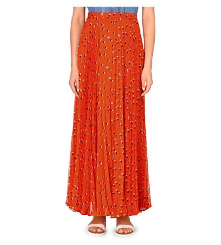 KAREN MILLEN Polka-dot chiffon skirt (Bright+orange