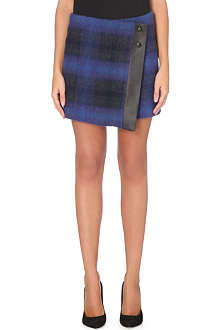 KAREN MILLEN Checked mohair mini skirt