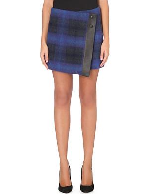 KAREN MILLEN Checked mohair mini skirt