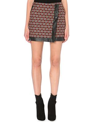 KAREN MILLEN Geometric wool-blend skirt
