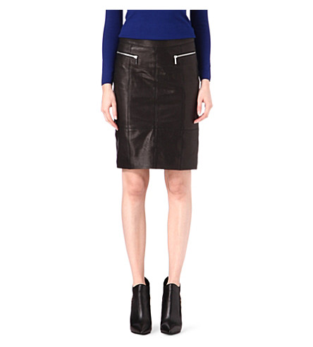 KAREN MILLEN Leather skirt (Black
