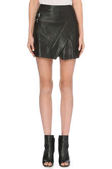KAREN MILLEN Wrap leather mini skirt