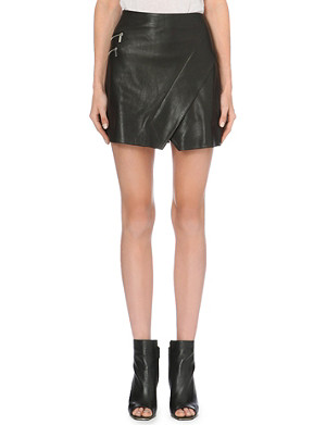 KAREN MILLEN Wrap leather mini skirt