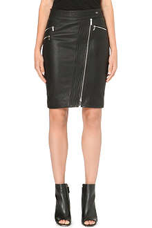 KAREN MILLEN Zip leather pencil skirt
