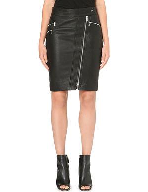 KAREN MILLEN Zip leather pencil skirt