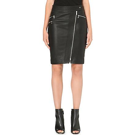 KAREN MILLEN Zip leather pencil skirt (Black