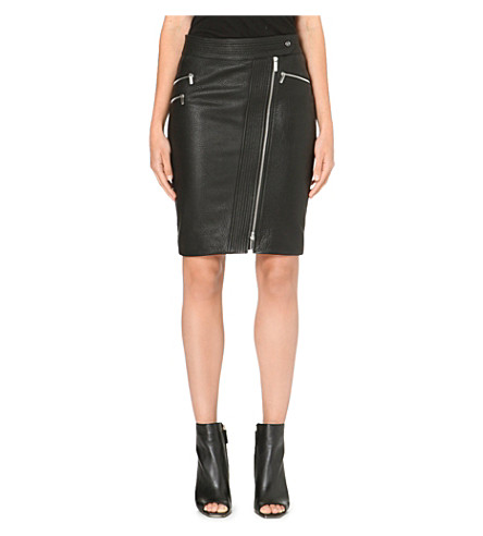 KAREN MILLEN Zip leather pencil skirt (Black