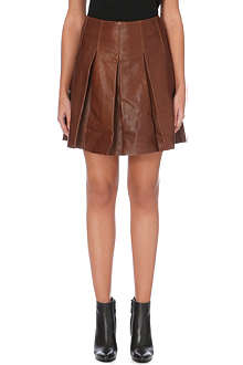 KAREN MILLEN Pleated full leather skirt