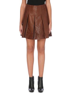 KAREN MILLEN Pleated full leather skirt