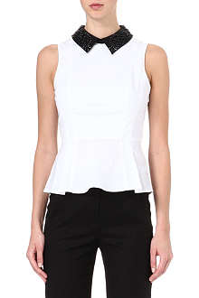 KAREN MILLEN Beaded-collar peplum blouse