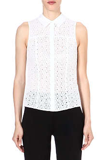KAREN MILLEN Cotton sleeveless broderie shirt