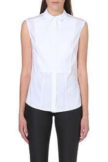 KAREN MILLEN Mesh-panelled sleeveless shirt