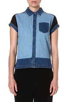 KAREN MILLEN Mixed-denim shirt