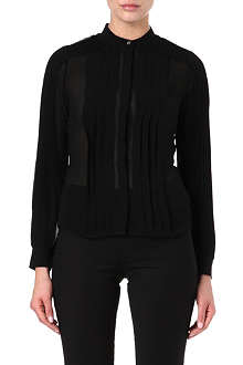 KAREN MILLEN Pintucked semi-sheer shirt