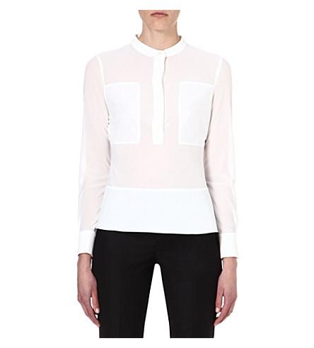 KAREN MILLEN Sheer crepe shirt (Ivory