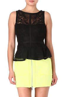 KAREN MILLEN Embroidered lace peplum top