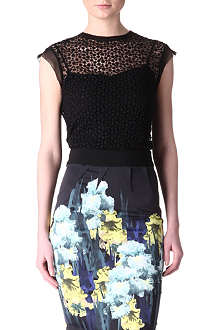 KAREN MILLEN Sheer broderie top