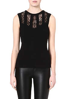 KAREN MILLEN Stretch jersey embroidered top