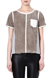 KAREN MILLEN Perforated suede boxy top