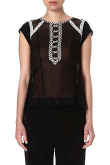 KAREN MILLEN Silk Aztec-embroidered top