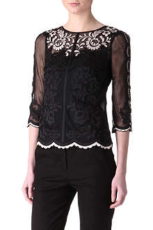 KAREN MILLEN Embroidered lace top