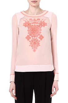 KAREN MILLEN Silk embroidered top