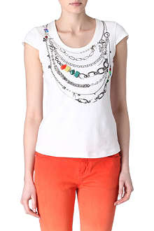 KAREN MILLEN Embellished necklace-print t-shirt