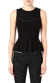 KAREN MILLEN Lace embroidery peplum top