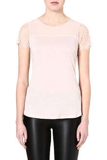 KAREN MILLEN Lace-sleeved t-shirt