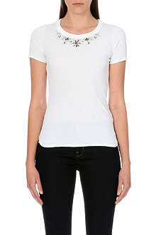 KAREN MILLEN Jewel-detail cotton-jersey t-shirt