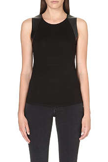 KAREN MILLEN Faux-leather vest top