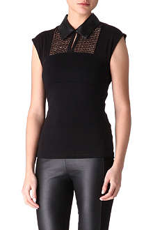 KAREN MILLEN Faux leather collar top