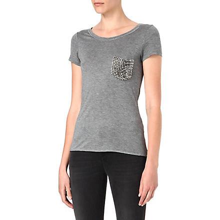 KAREN MILLEN Stud pocket t-shirt (Grey