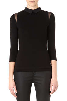 KAREN MILLEN Mesh shoulder inserts top