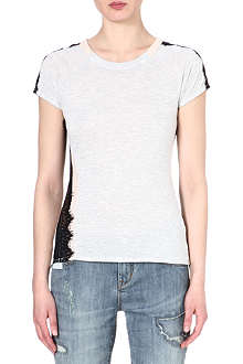 KAREN MILLEN Lace-trim t-shirt