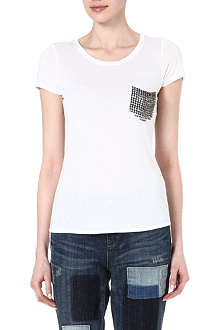 KAREN MILLEN Studded pocket t-shirt
