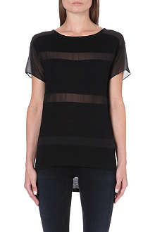 KAREN MILLEN Sheer-detail panelled t-shirt